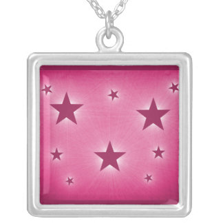 Stars in the Night Sky Necklace, Magenta Square Pendant Necklace