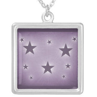 Stars in the Night Sky Necklace, Purple Square Pendant Necklace