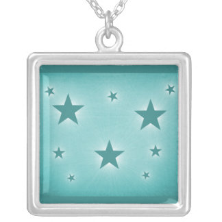 Stars in the Night Sky Necklace, Teal Square Pendant Necklace