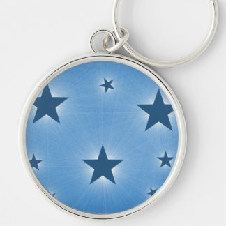 Stars in the Night Sky Premium Keychain, Blue Silver-Colored Round Key Ring