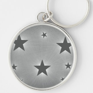 Stars in the Night Sky Premium Keychain, Dark Gray Silver-Colored Round Key Ring