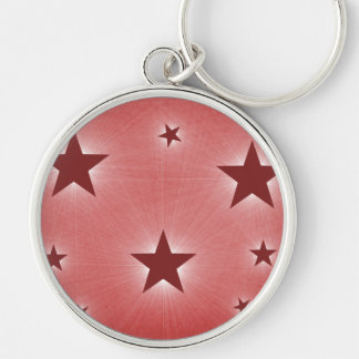 Stars in the Night Sky Premium Keychain, Dark Red Silver-Colored Round Key Ring