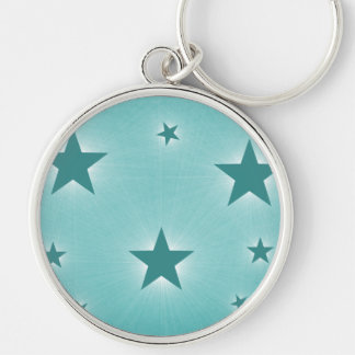 Stars in the Night Sky Premium Keychain, Teal Silver-Colored Round Key Ring