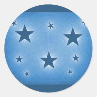 Stars in the Night Sky Stickers, Blue Round Sticker