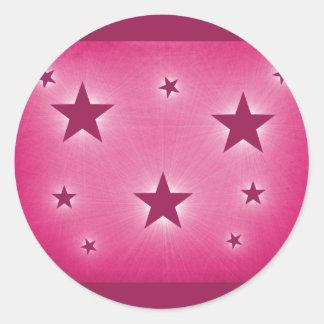 Stars in the Night Sky Stickers, Magenta Round Sticker