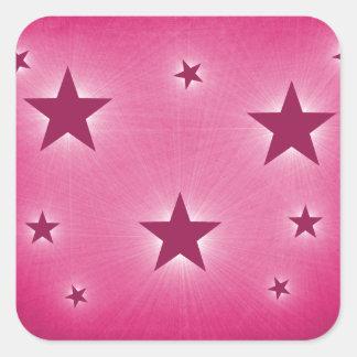 Stars in the Night Sky Stickers, Magenta Square Sticker