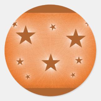 Stars in the Night Sky Stickers, Orange Round Sticker