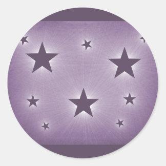 Stars in the Night Sky Stickers, Purple Round Sticker