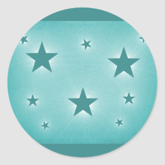 Stars in the Night Sky Stickers, Teal Round Sticker
