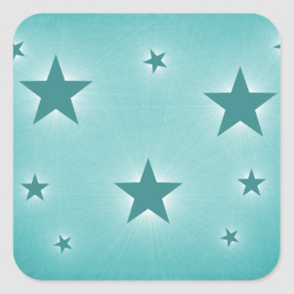 Stars in the Night Sky Stickers, Teal Square Sticker