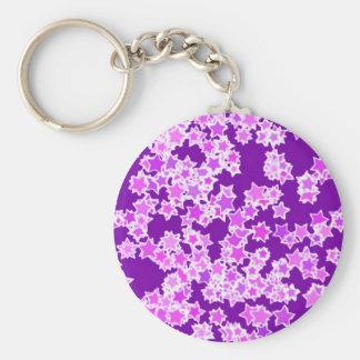Stars, lavender against dark purple key chains