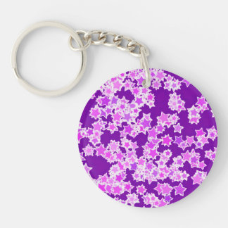 Stars, lavender against dark purple Single-Sided round acrylic key ring