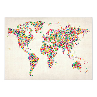 Stars Map of the World Map 13 Cm X 18 Cm Invitation Card