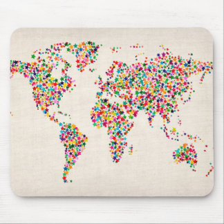 Stars Map of the World Map Mouse Mat