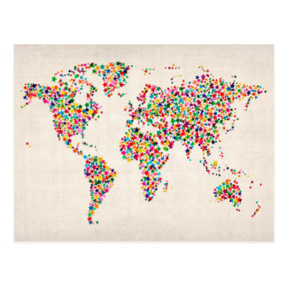 Stars Map of the World Map Postcard