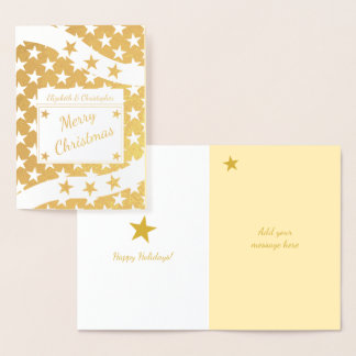 Stars Merry Christmas Gold Foil Card