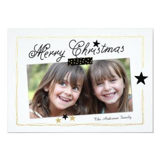 Stars Merry Christmas   Photo Holiday Card 13 Cm X 18 Cm Invitation Card