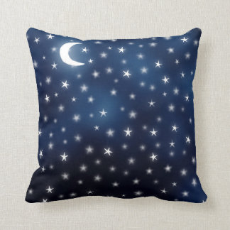 Stars Moon Blue Night Sky Dream White Navy Cushion