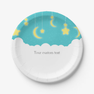 Stars Moon & Clouds Baby Shower Party Plates