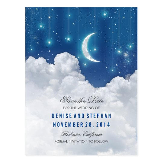 Stars & Moon Lights Save the Date Postcards