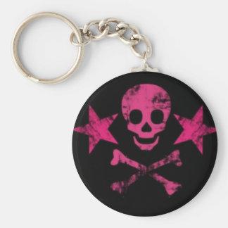 stars 'n skull basic round button key ring