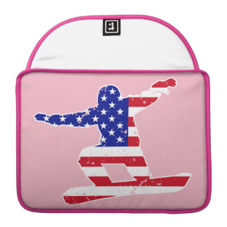 Stars 'n' Stripes SNOWBOARDER (wht) MacBook Pro Sleeves