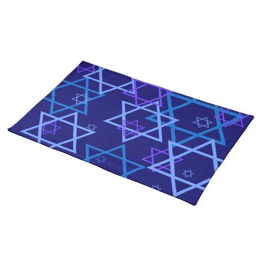 STARS OF DAVID PATTERN  PURPLE & blues placemats