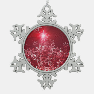 Stars on a red background snowflake pewter christmas ornament