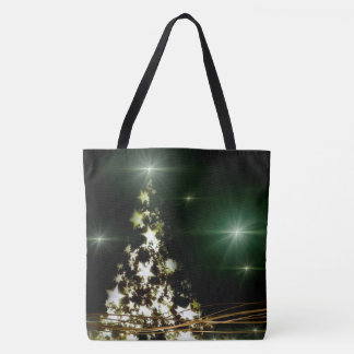 Stars on Christmas Tree Night Sky All-Over-Print Tote Bag