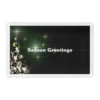 Stars on Christmas Tree Night Sky Midnight Green Acrylic Tray