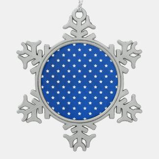 Stars On Fabric Texture Pewter Snowflake Decoration