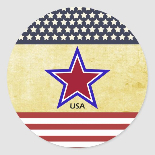 Stars on flag classic round sticker