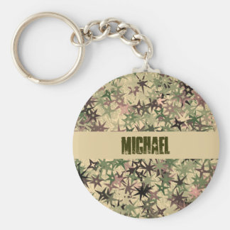 Stars Pattern in Camouflage Colors Basic Round Button Key Ring