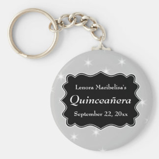 Stars Pattern in Gray and White Quinceanera Key Chain