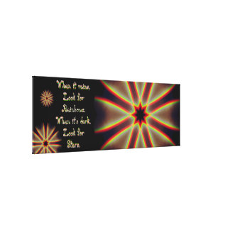 Stars/Rainbow Quoted Mandala Canvas Print