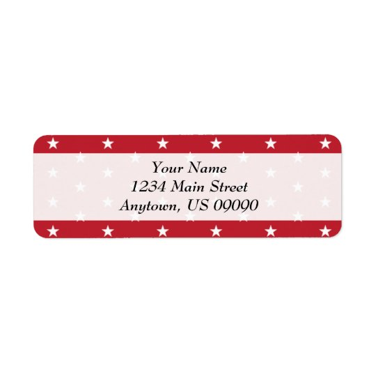 Stars Return Address Labels (Red)