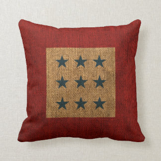 Stars Rustic Blue and Red Throw Pillow