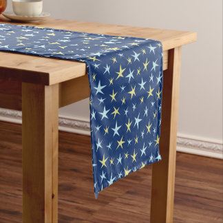 Stars Space Pattern Retro 1960s Geometric Blue Medium Table Runner