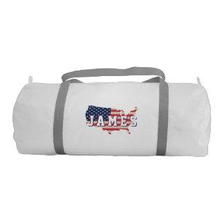 Stars &  Spangled US American Flag. Add Name. Gym Bag