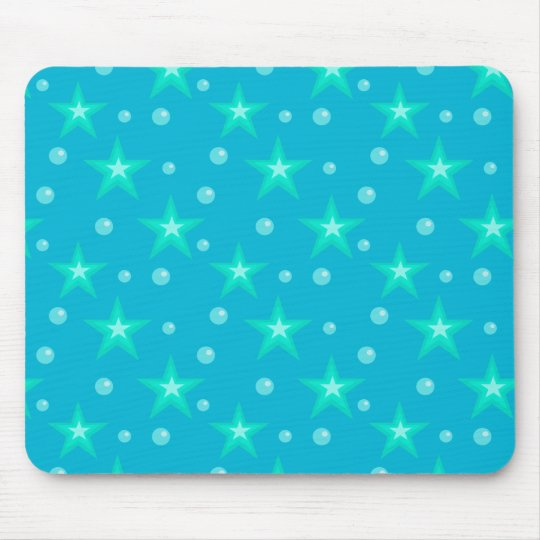 Stars Starry Bubbles Blue Mermaid Fantasy Nautical Mouse Mat