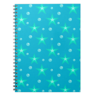 Stars Starry Bubbles Blue Mermaid Fantasy Nautical Notebooks