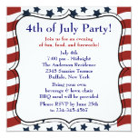 Stars Stripes 4th of July BBQ Party 5.25x5.25 Square Paper Invitation Card