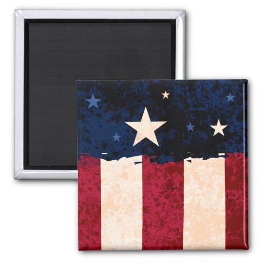 Stars & Stripes Americana Style USA Flag Patriotic Square Magnet