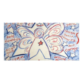 Stars & Stripes Angel Personalized Photo Card