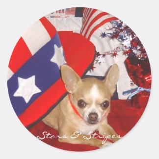 Stars & Stripes Chihuahua Pin Round Sticker