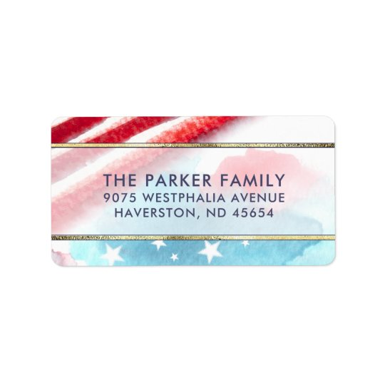 Stars & Stripes Colourful Watercolor Red White Label