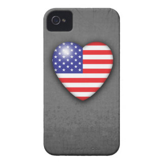 Stars & Stripes Heart Flag on grey grunge Case-Mate iPhone 4 Case