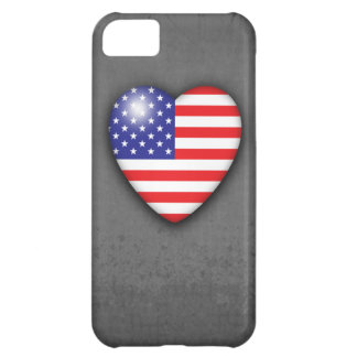 Stars & Stripes Heart Flag on grey grunge iPhone 5C Case