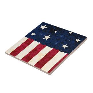 Stars & Stripes Patriotic Small Square Tile