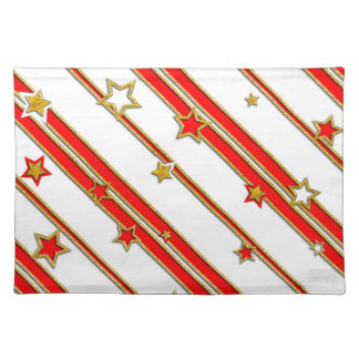 Stars & Stripes Pattern gold red+ your ideas Place Mats